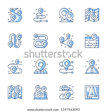 GPS navigator, geo tag linear vector icons set. Map with pointer, location marker pictogram. Cartography contour symbols isolated pack. Navigational pins thin line illustrations collection