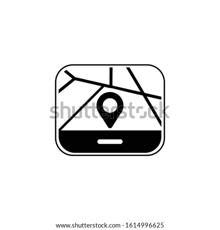GPS navigator icon vector black illustration
