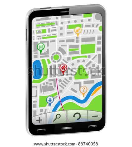 GPS Navigator in Smartphone, vector illustration - stock vector
