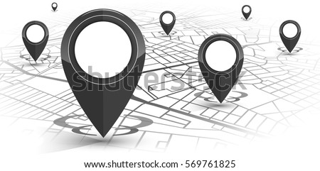 GPS.navigator pin black color mock up with map on white background. vector illustration #569761825