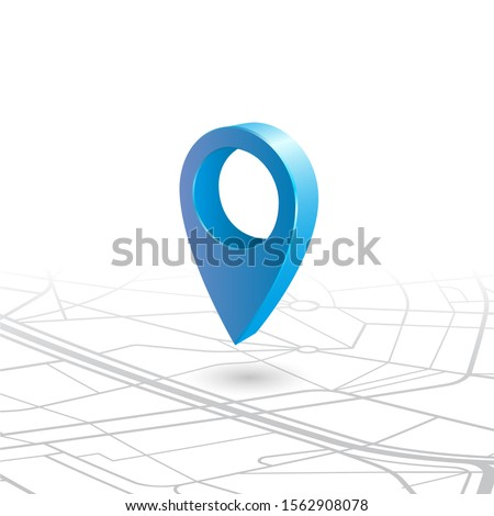 GPS navigator pin checking blue color on map vector illustration stock. Blue 3d pin isometric view floating in the air over a map with a shadow over the place. Glossy pin with light and shadows.