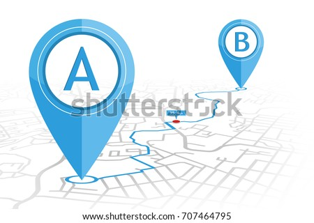GPS navigator pin checking point A to point B on street map with distance pointer. vector illustration