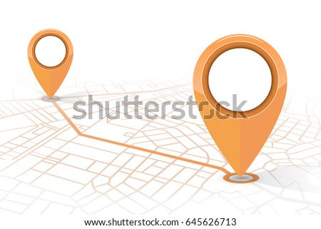 GPS navigator pin checking point to point orange color on white background.vector illustration #645626713