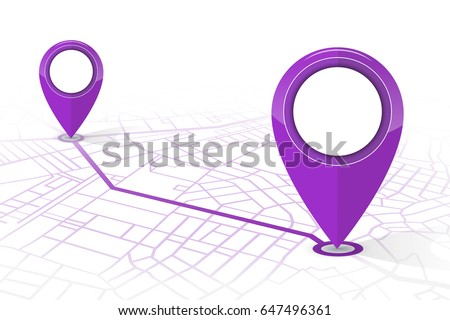 GPS navigator pin checking point to point purple color on white background.vector illustration