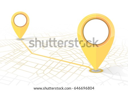 GPS navigator pin checking point to point yellow color on white background.vector illustration #646696804