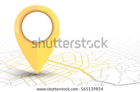 GPS.navigator pin checking yellow color on white background. vector illustration