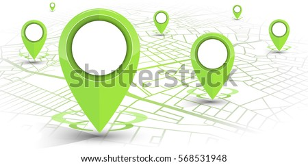 GPS.navigator pin green color mock up with map on white background. vector illustration #568531948