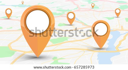 GPS navigator pin mock up orange color  on street map of city.vector illustration #657285973