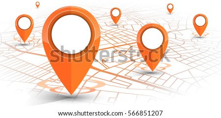 GPS.navigator pin orange color mock up with map on white background. vector illustration #566851207