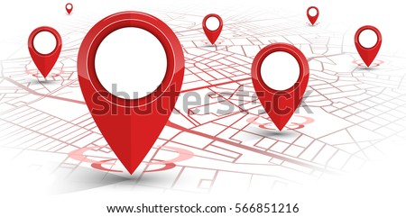 GPS.navigator pin red color mock up with map on white background. vector illustration #566851216