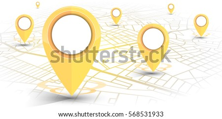 GPS.navigator pin yellow color mock up with map on white background. vector illustration #568531933