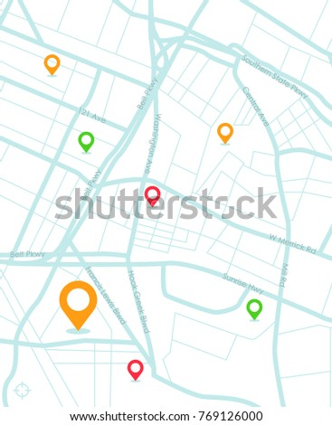 GPS.navigator pin yellow color mock up with map on white background. vector illustration.