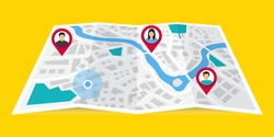 GPS navigator. The concept shares its geolocation with others. Search by geolocation. Tracking the location of a person using a phone. Maps navigation with point markers. Friends locations