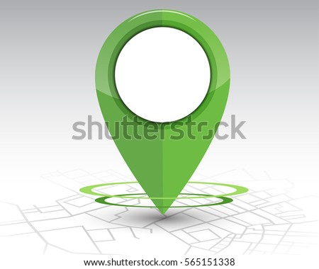 GPS pin checking location green color on map.vector illustration