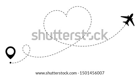 GPS route of love travel plane. A love journey that is tracked by the dotted line of the heart route. Romantic travel symbol for Valentine's Day. Vector illustration.