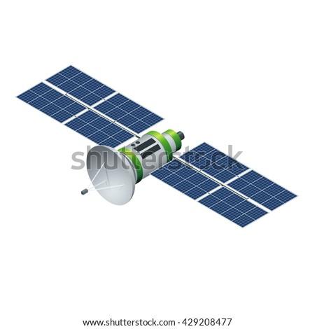 gps satellite flat 3d vector