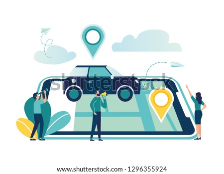 Gps system, cartography display, location on the city map, navigation in the smartphone and tablet, the path is paved to the car - Vector