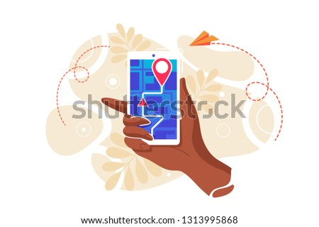 Gps system, cartography display, location on the city map, navigation in the smartphone and tablet, the path is paved to the car