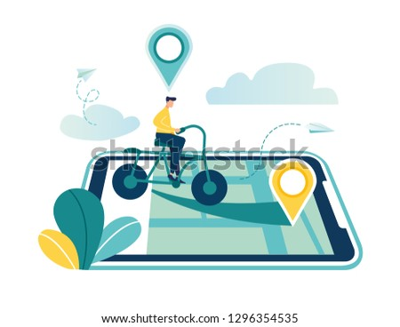 GPS system, mapping of cartography, location on a city map, navigation in a smartphone and tablet, the path is paved to the bike-vector