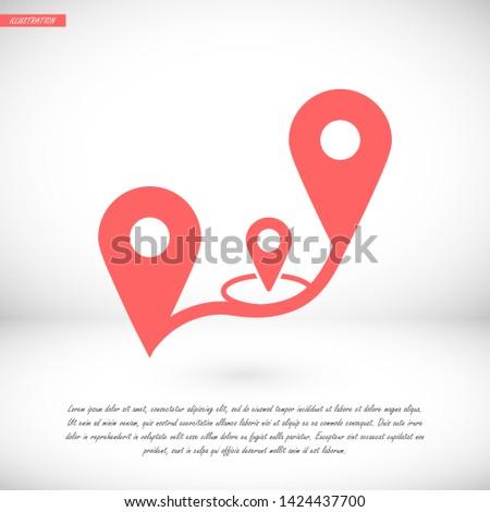 GPS vector icon 10 eps , Lorem ipsum Flat design #1424437700