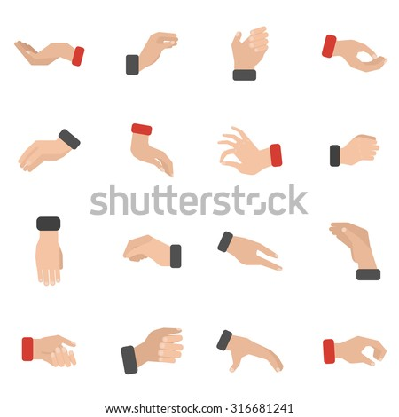 Grabbing hand icons set with picking taking and holding flat isolated vector illustration
