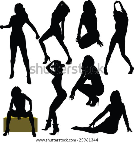 grace, sexy, silhouette - stock vector