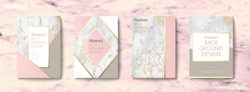 Graceful brochure set, geometric shape with golden line and marble stone texture, pink tone