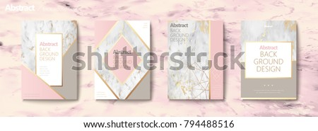 stock-vector-graceful-brochure-set-geometric-shape-with-golden-line-and-marble-stone-texture-pink-tone