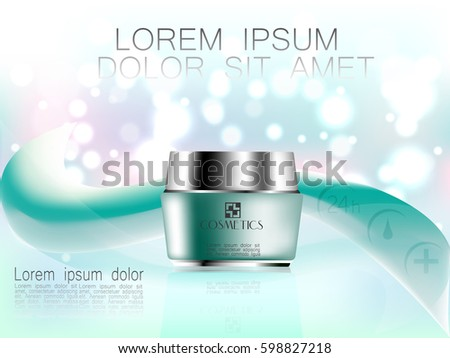 Graceful cosmetic ads, hydrating facial cream for annual sale. Turquoise cream mask bottle isolated on glitter particles with elegant abstract objects. 3D vector illustration.