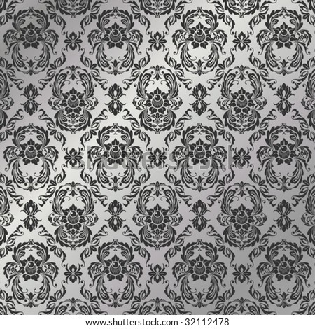 graceful decorative wallpaper of silvery tones stock