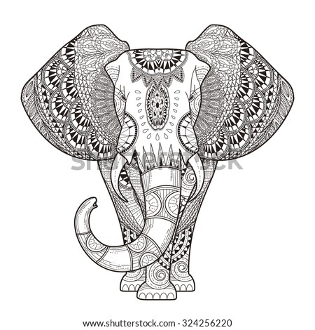 Royalty Free Elephant Black And White Hand Drawn Aztec Coloring