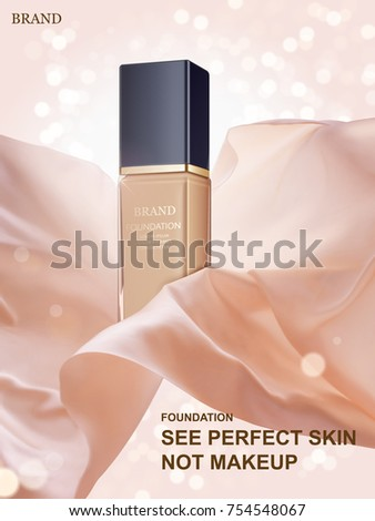 Graceful foundation ads, glass container with floating fabric in 3d illustration, glitter bokeh background
