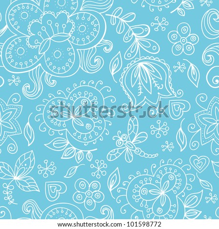 Graceful hand drawn floral vector seamless pattern in white and light blue