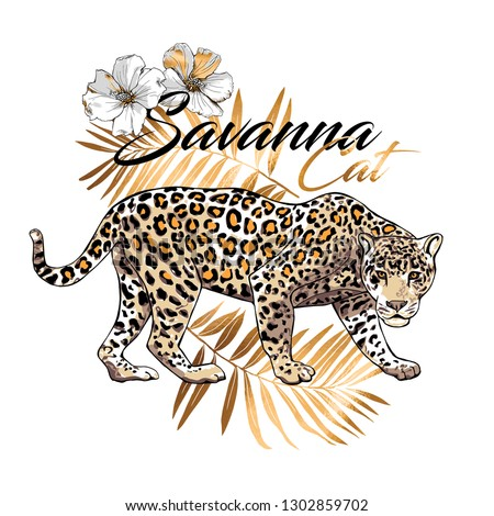 Graceful leopard and gold fern leaves, flowers. Savana cat - lettering quote. Elegant poster, t-shirt composition, hand drawn style print. Vector illustration. Foto stock ©