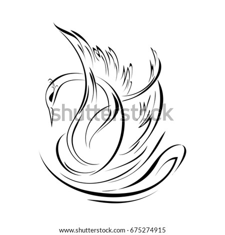 graceful swan in black lines on a white background