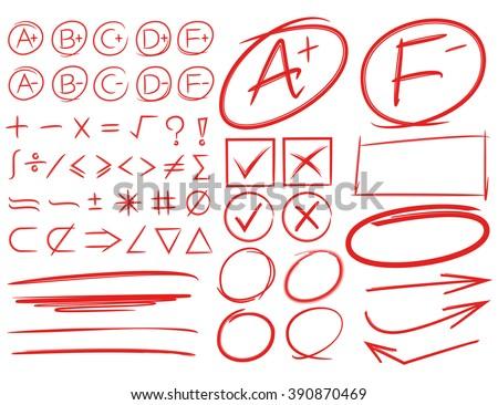 grade results, grade symbols, highlighters, markers, underlines, arrows, math signs, circles