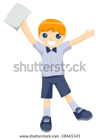 Gradeschool Holding Blank Report Card - Vector - stock vector