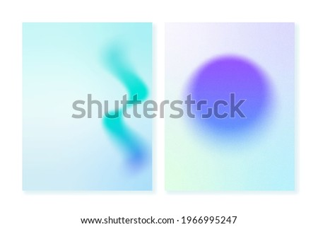 Gradient backgrounds with blurry shapes and grainy textures. For covers, wallpapers, branding and other projects. Vector, can be used for printing. You can use a grainy texture for both backgrounds. Foto stock ©