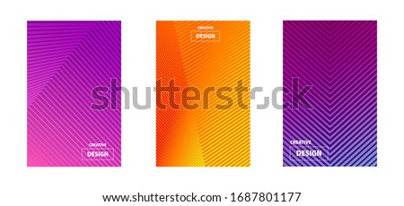 Gradient banners with lines and stripes of violet, orange and blue colors. Can be used in business cards and advertising on the website.