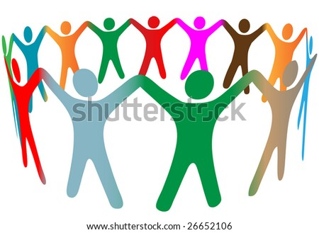 Gradient blend of diverse group of symbol people of many colors hold their hands up in a ring. - stock vector