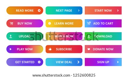 Gradient buttons. Rectangular next page button, read more and add to cart icon colorful gradients web icons. Actions ui sign up, download and get started isolated vector symbols set