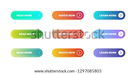 Gradient buttons. Web interface material button shape, bright gradient mobile app submit. Vector action ui buttons. #1297085803