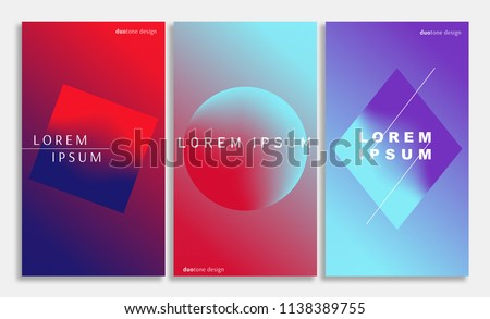 Gradient covers set. Background in duotone colors. Abstract vector background. Design for brochures, posters, covers, banners. Futuristic design posters.