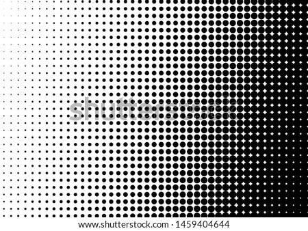 Gradient Dots Background. Grunge Pattern. Black and White Texture. Vintage Monochrome Overlay. Vector illustration