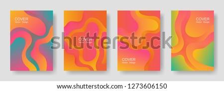 Gradient fluid shapes abstract covers vector set. Trendy brochure backgrounds design. Flux paper cut effect blob elements pattern, fluid wavy shapes texture print. Cover layouts.