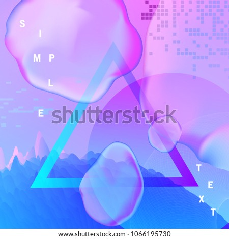Gradient futuristic Background with liquid and fluid  element. Trendy background for flyer, poster, presentation, brochure. Vector abstract glitch illustration. #1066195730