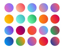 Gradient holographic circle sphere button. Vector abstract rounded vibrant multicolor neon, purple, blue, green, yellow palette gradients, round buttons flat vivid color spheres set