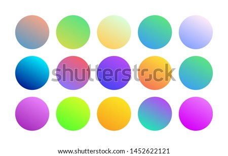 Gradient holographic round sphere button. Trendy minimalist multicolor neon purple blue fluid yellow orange circle gradients. Set of vivid color spheres in modern 80s style