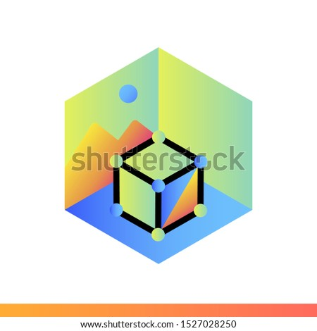 Gradient icon AR projection. Virtual and augmented reality gadgets. Suitable for presentation, mobile apps, website, interfaces and print