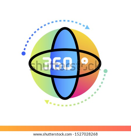 Gradient icon 360 degree view. Virtual and augmented reality gadgets. Suitable for presentation, mobile apps, website, interfaces and print